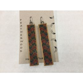 handcrafted wood inlay earrings