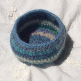 HAND MADE WOOL FELTED BOWL in BLUES