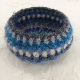 WOOLY FELTED BOWL - SKY