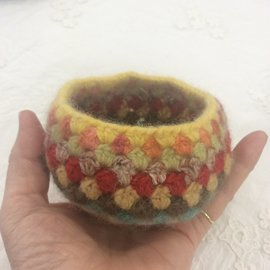 HAND MADE WOOLY FELTED BOWL - FIESTA