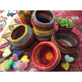 HAND MADE FELTED BOWL - COLORFUL STRIPES