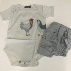 MILKBARN Appliqué One Piece & Ruffle Bloomer Set 6-12M CHICKEN