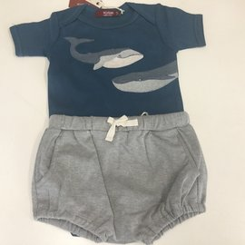 MILKBARN Appliqué One Piece & Bloomer Set 6-12M BLUE WHALE