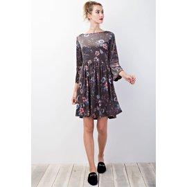 SALE- Bell Sleeve Velvet Dress - SMALL