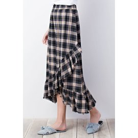 SALE- Fringed Plaid Flannel Skirt- SMALL