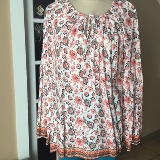 CORAL FLORAL PEASANT BLOUSE LARGE