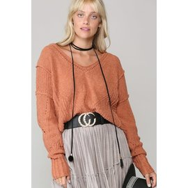 CLAY OPEN KNIT SWEATER
