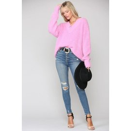 SOFT FUZZY PINK SWEATER