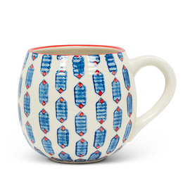 BLUE GEO PATTERN BALL MUG