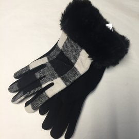 Buffalo Plaid Fur Cuff Glove Cream