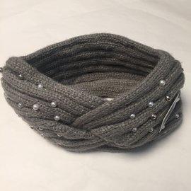 Beaded Twisted Knit Headband Grey