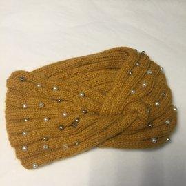 Beaded Twisted Knit Headband Mustard