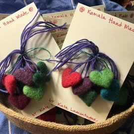 TINY HAND MADE FELT HEART TIE-ONS- SET 6