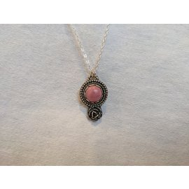 SEISMIC SILVER RHODONITE ROSE PENDANT