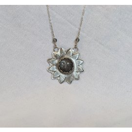SEISMIC SILVER SUNFLOWER FACE PENDANT - GREY MOONSTONE