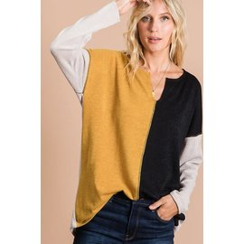 MUSTARD AND BLACK COLOR BLOCK TOP