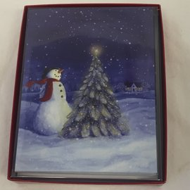 HOLIDAY Card Snowman Tree Boxed Set/12