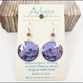 Adajio Earrings Purple Ribbons