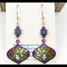 Adajio Earrings Purple Green Deco