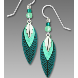 Adajio Earrings Teal Turquoise Leaves