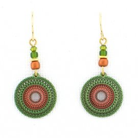 Adajio Earrings Olive Copper Etched Disc