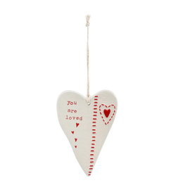 YOU ARE LOVED CERAMIC HEART ORNAMENT