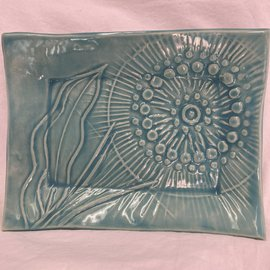 HANDMADE CERAMIC TRAY AQUA FLOWER BURST