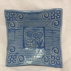 HANDMADE CERAMIC DISH FLOWERS BLUE