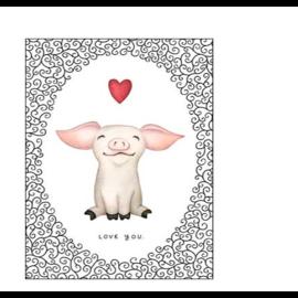 Piggy Heart Smiles Valentine Card