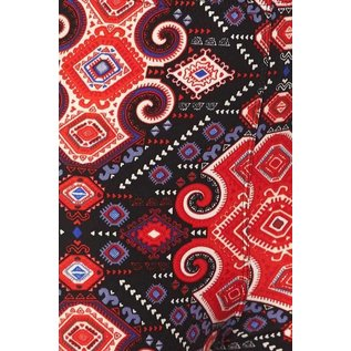Plus Leggings- Black Red Tapestry