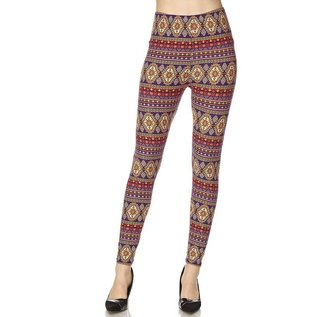 Plus Leggings- Purple Olive Red Bands