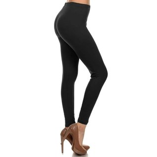 ONE SIZE SOLID BLACK LEGGINGS