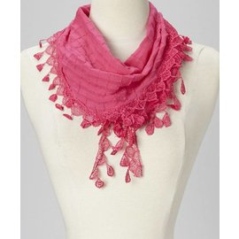 Lace Trim Petite Scarf - Deep Pink