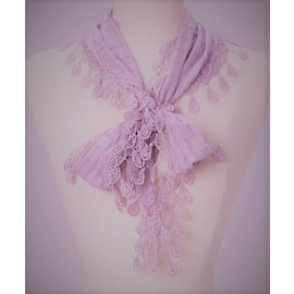 Lace Trim Petite Scarf -Lilac