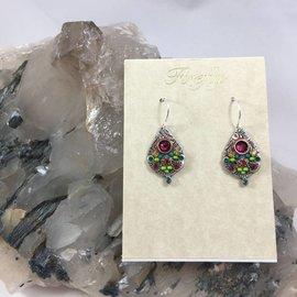 Swarovski Crystal Mosaic Drop Earrings in Ruby