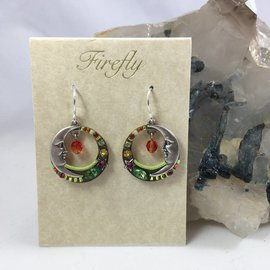 Celestial Moon Earrings in Tutti Frutti
