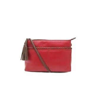 ILI New York Ili New York Whipstitch cross bag red & tan
