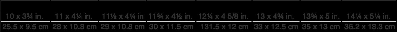 icer's sizes chart