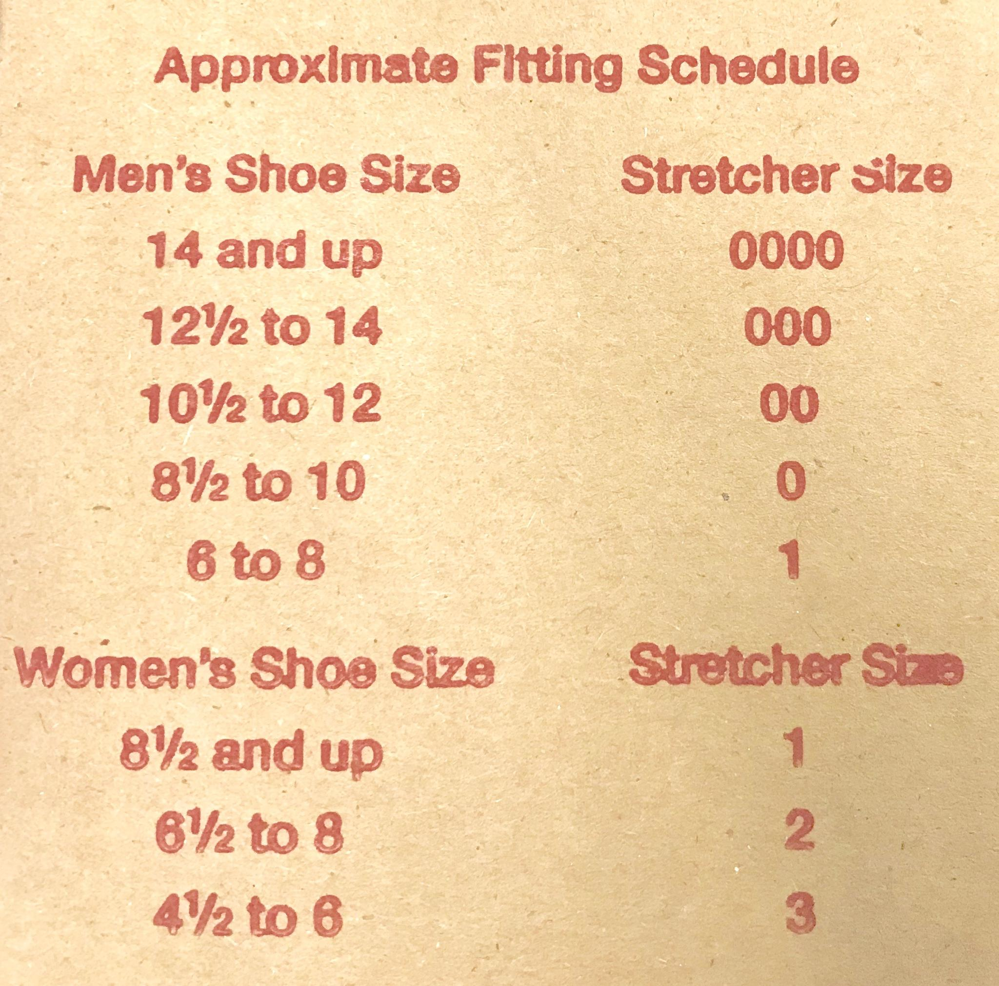 Shoe stretcher size chart