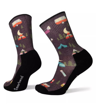 Smartwool Hike Light Summer Nights Print Crew Bordeaux