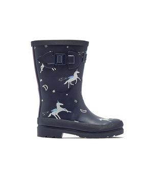 Joules Joules Welly Print Navy Unicorn