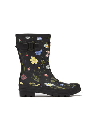 Joules Joules Molly Wellies Black Floral