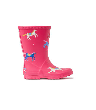 Joules Roll Up Wellies Pink Horse