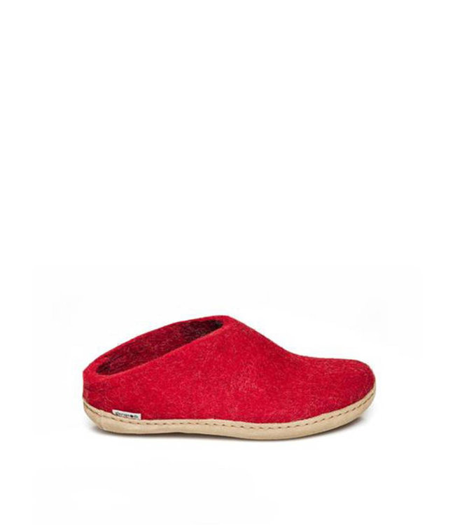 Glerups Slippers Leather Sole Red