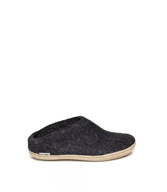 Glerups Slippers Leather Sole Charcoal