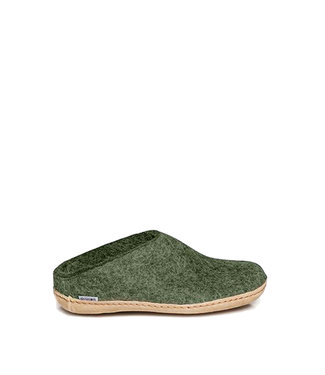 Glerups Slipper Leather Sole Forest Green
