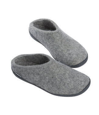 Glerups Slippers Rubber Sole Grey