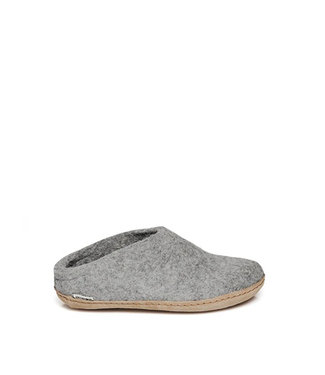 Glerups Slippers Leather Sole Grey
