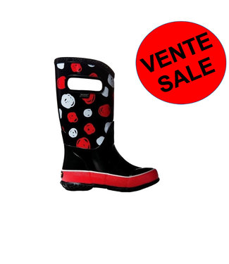 Bogs Black Sketched Dots Red & White