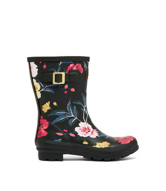Joules Molly Wellies Black Floral